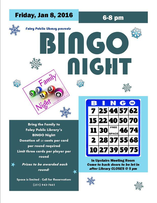 Foley Public Library Presents BINGO